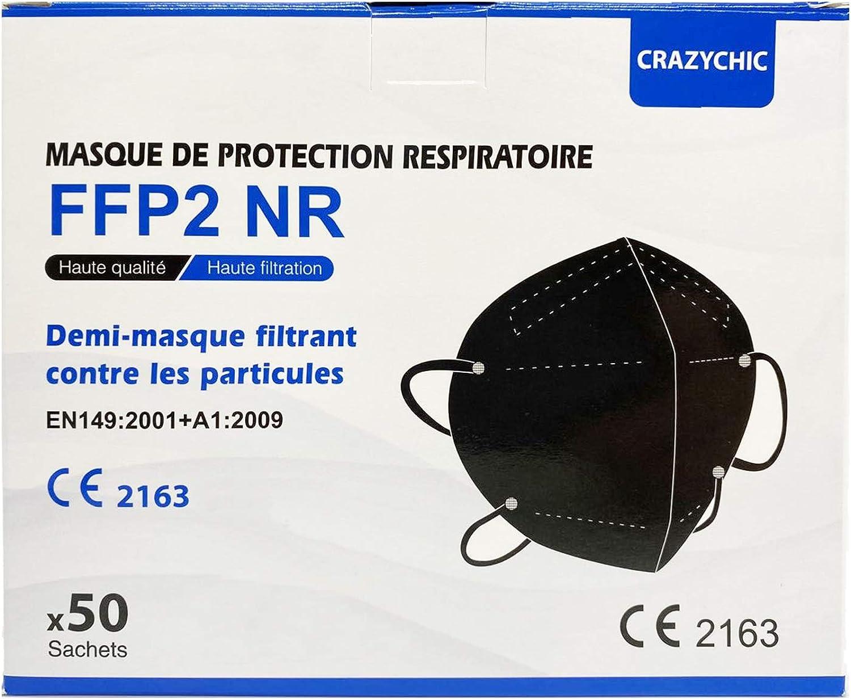 CRAZYCHIC - Mascarilla FFP2 Negra Homologada Certificada CE EN149 - Mascarilla de Protección Respiratoria - Protectora Respirador Antipolvo - 5 Capas Alta Filtración