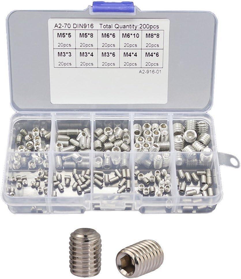200pcs Kit Dassortiment Vis /à T/ête Hexagonale /à Six Pans Creux Acier Inoxydable