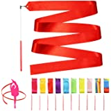 Novelty Place 10 Pieces Dance Ribbons Streamers - 6.6Ft Unisex Kids' Gymnastics Ribbon Wands - Perfect Rhythm Sticks for…