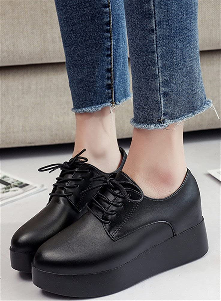 High Heel Casual Wedges Sneakers 2 Colors Size 5.5-7.5 ACE SHOCK Platform Shoes Women Hidden Heel