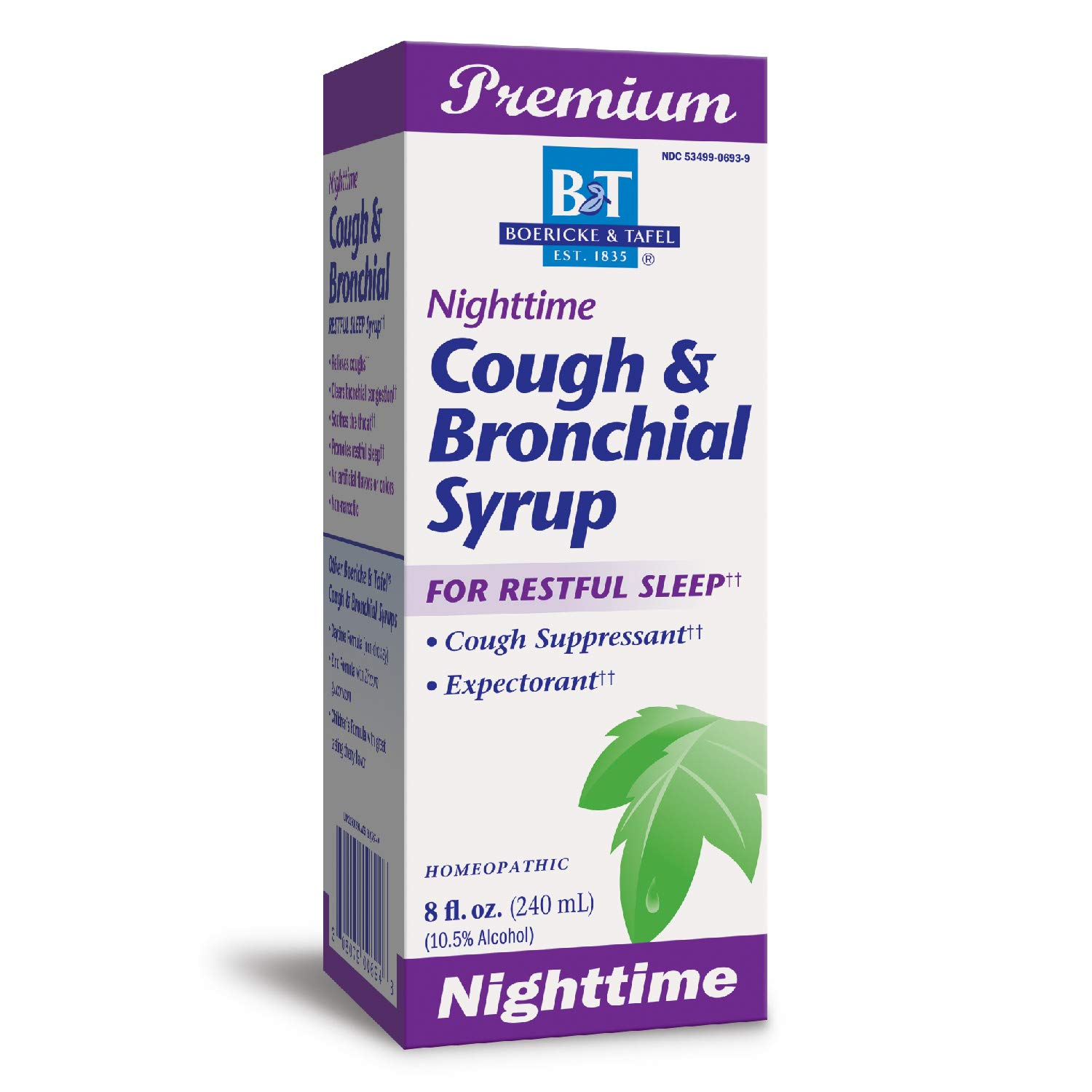 Nature's Way B&T Nighttime Cough & Bronchial Syrup for Restful Sleep Homeopathic, , Purple Cherry 8.0 Fl Oz