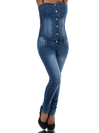 5d9ce3cbb0202a Unbekannt N678 Damen Jeans Jumpsuit Overall Einteiler Hosenanzug Corsage  Schulterfrei, Farben:Blau, Größen