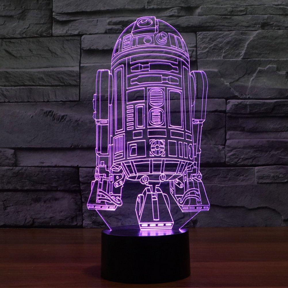 SmartEra/® Star Wars Force Awaken 7 Farbwechsel Roboter R2D2 Touch-3D optische T/äuschung LED-Schreibtischlampe