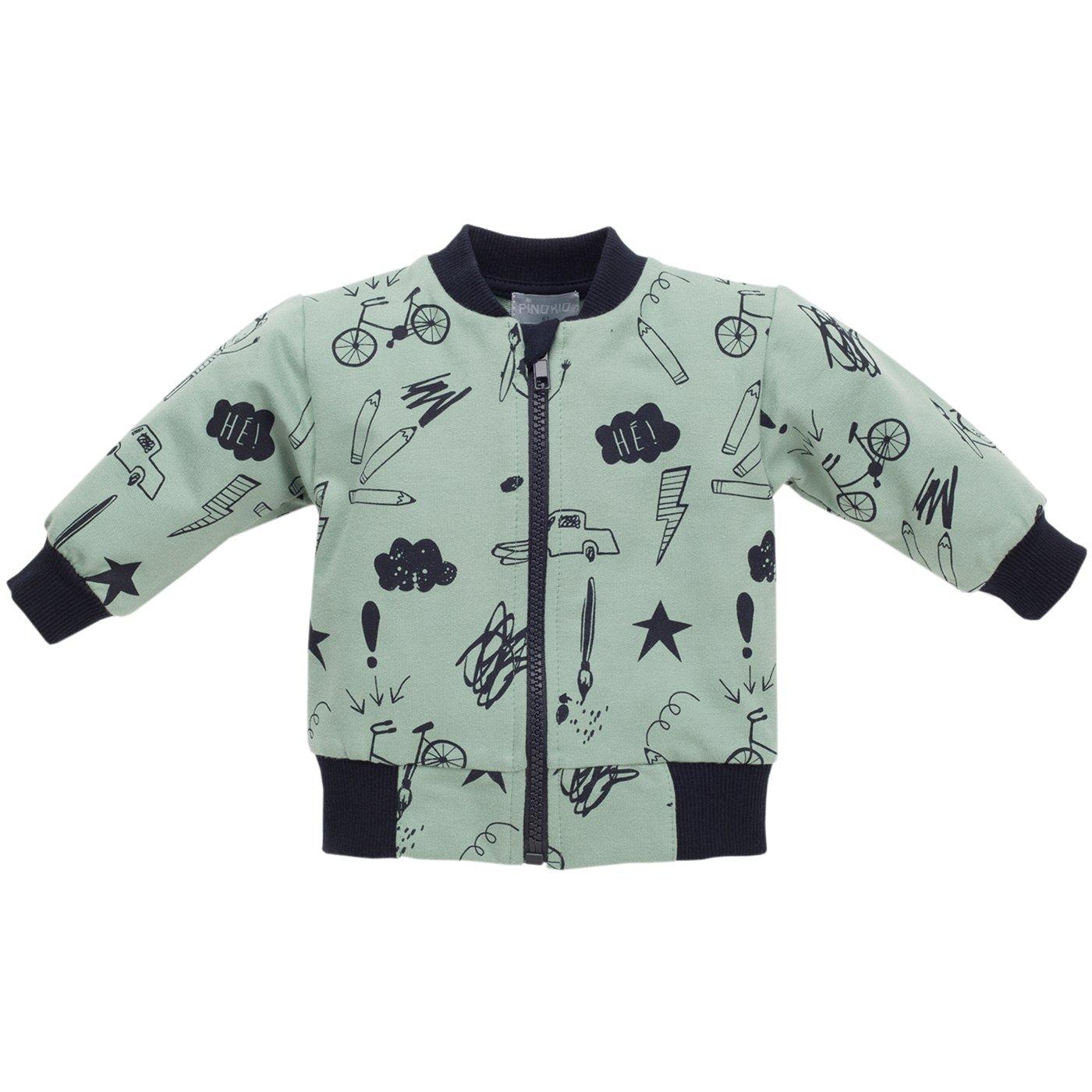Pinokio - Xavier - Sweatjacke für Babys und Kids - 100% Baumwolle, türkis/grün mit Reißverschluss - Jäckchen mit netten Motiven