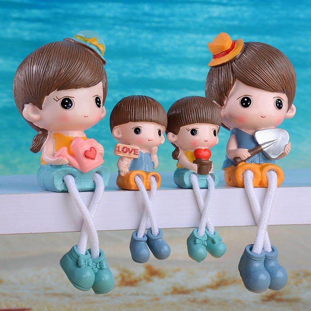 Bwlzsp 1 set (4) cartoon cartoon resin technology pendulum shelf hanging foot cute hat four - port home decoration pendulum LU709129