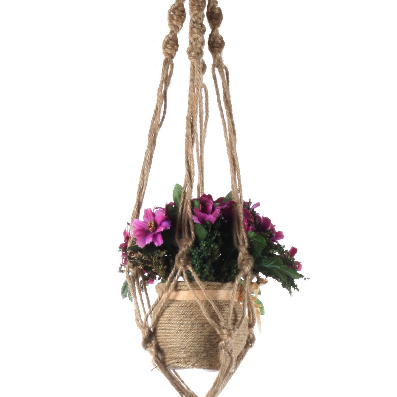 LAAT 2PCS Cestas de plantador Bolsa de Red Cuerda de c/á/ñamo Verde Maceta macram/é Jardinera Colgante Planta de Jard/ín de Flores Navidad,Halloween Size 100cm-110cm