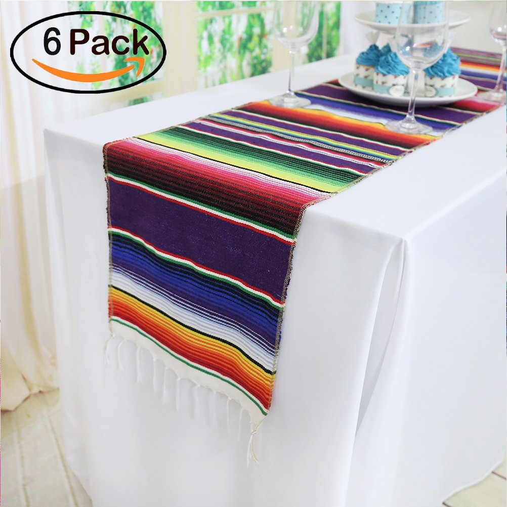 Koyal Pack of 6 14 x 84 inch Mexican Serape Table Runner for Mexican Party Wedding Decorations Fringe Cotton Table Runner