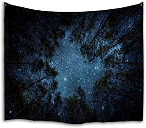 "QiyI Forest Galaxy Tapestry Wall Hanging Nature Starry Night Sky Blanket Home Décor Tree Space Trippy Milky Way Ceiling Tapestries for Bedroom Living Room Dorm - 60"" L x 51"" W, The Night in The Forest"