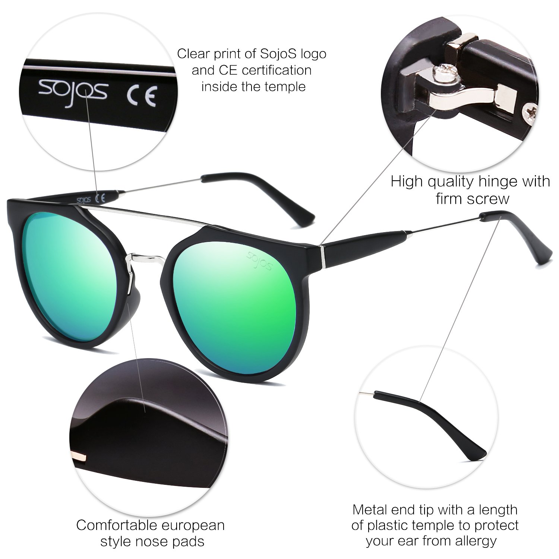 d423e3eb76 Amazon.com  SojoS Modern Double Metal Bridge Crossbar Round Unisex  Sunglasses SJ2032 With Matte Black Frame Green Mirrored Lens  Clothing