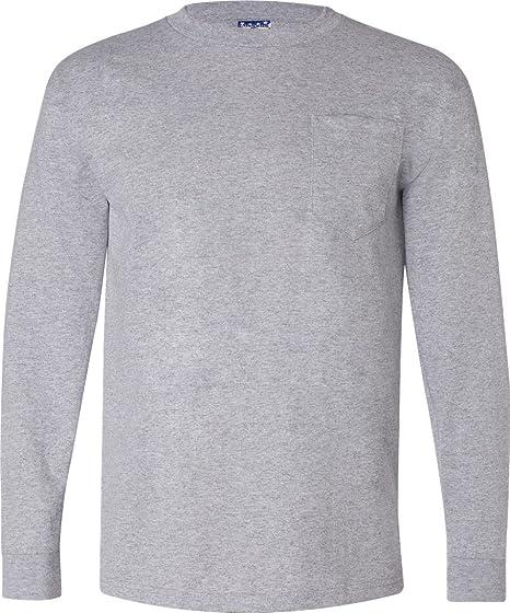 a88b58f0bae Amazon.com  Bayside 3055 - Union-Made Long Sleeve T-Shirt with a Pocket   Clothing