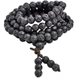 JOVIVI 6mm 8mm Natural Lava Rock Stone Healing Gemstone 108 Buddhist Prayer Beads Tibetan Mala Bracelet Necklace