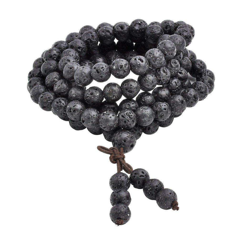 Jovivi 8mm Natural Lava Rock Stone Healing Gemstone 108 Buddhist Prayer Beads Tibetan Mala Bracelet Necklace