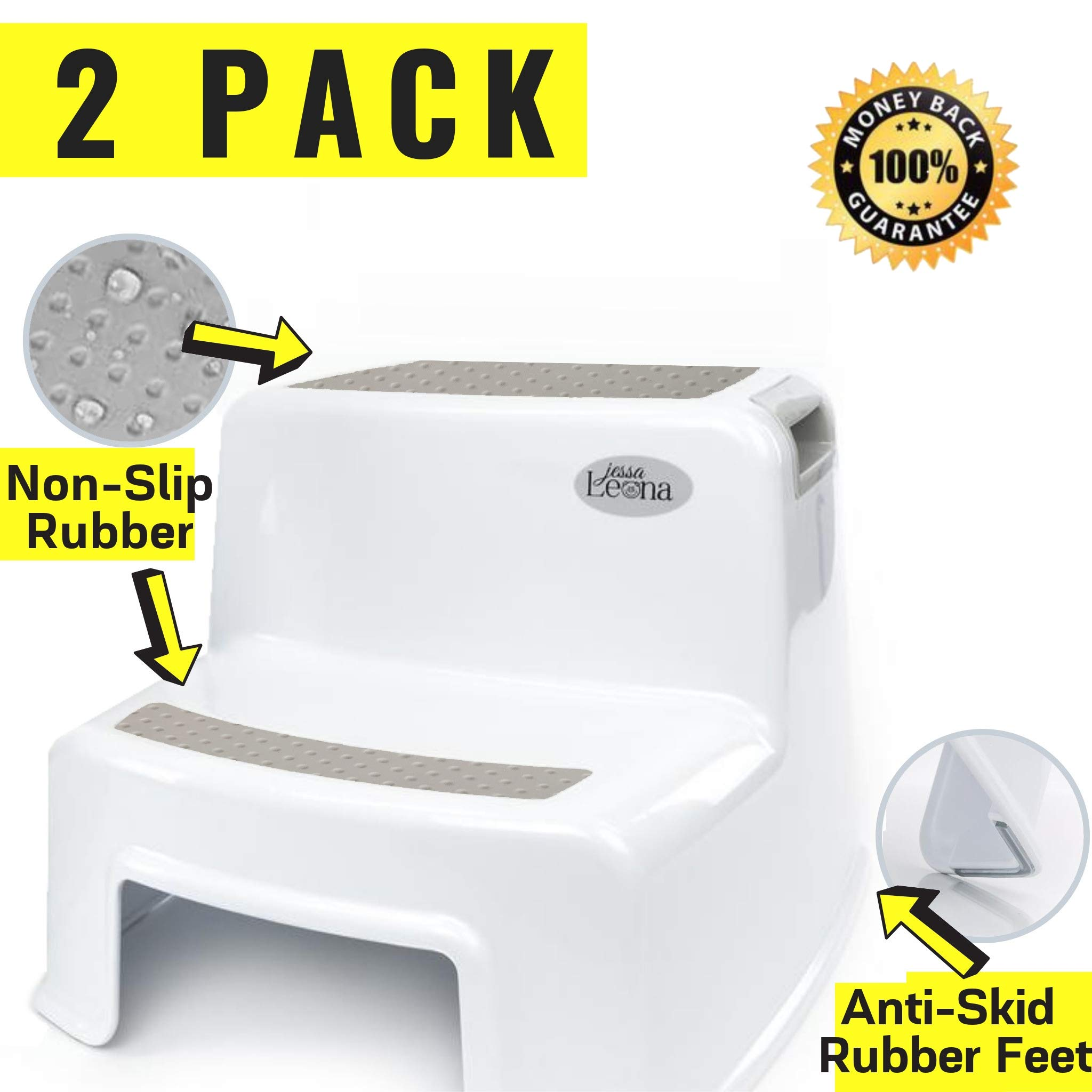 2 Pack 2 Step Stool for Kids | Toddler Stool for Potty Training and Use in The Bathroom or Kitchen | Wide Two Step Design for Growing Children | BPA Free Soft-Grip Steps for Comfort and S by Secure Home by Jessa Leona
