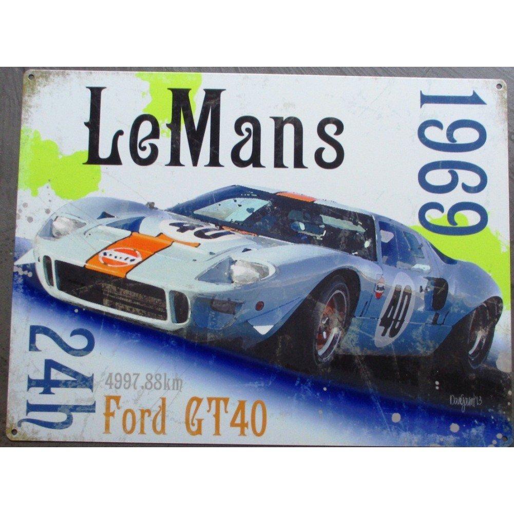hotrodspirit - plaque 24h le mans 1969 ford GT40 tole deco pub garage metal