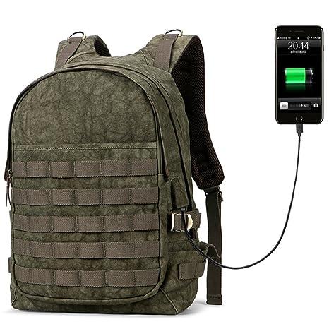 Amazon.com  DEELFEL Men Backpack USB Charger Waterproof Laptop ... 2d89ef4f7bfa5