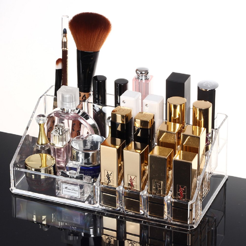 Amazon.com : HQdeal Makeup Organizer Luxury Cosmetics Acrylic Clear Case Storage Insert Holder Box with Drawers : Beauty