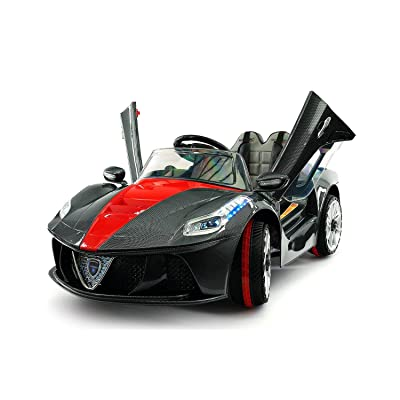 2020 Ferrari Spider GT Style 12V Ride On Motorized Kids Toy Cars Powered Wheels W/ Remote, Leather Seat, LED Lights (2 to 6 Years (Extended), Black) (Kids Ages 2-6 Years, Black): Toys & Games