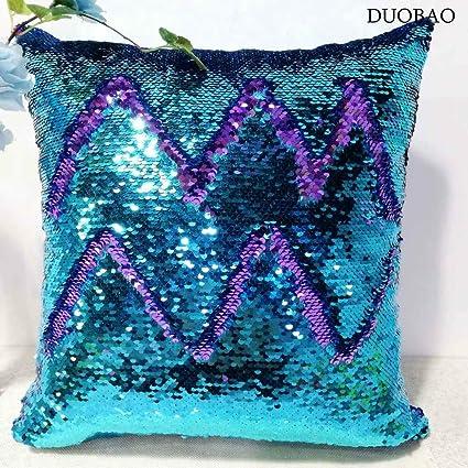 Amazon.com: DUOBAO Sequin Pillow Covers 20x20-Inch Turquoise to ...