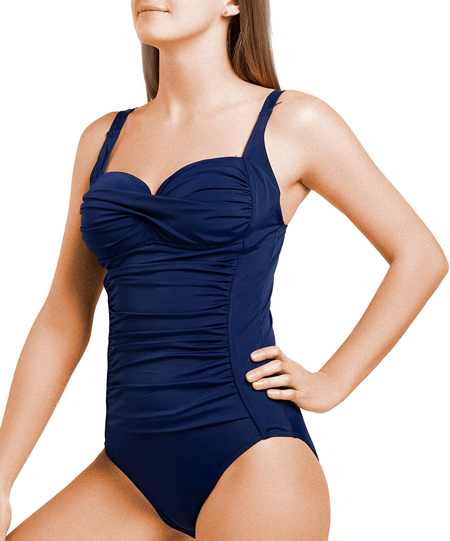 Joyaria Womens Retro One Piece Swimsuit Vintage Bathing Suits Ruched Tummy Cotrol Swimwear