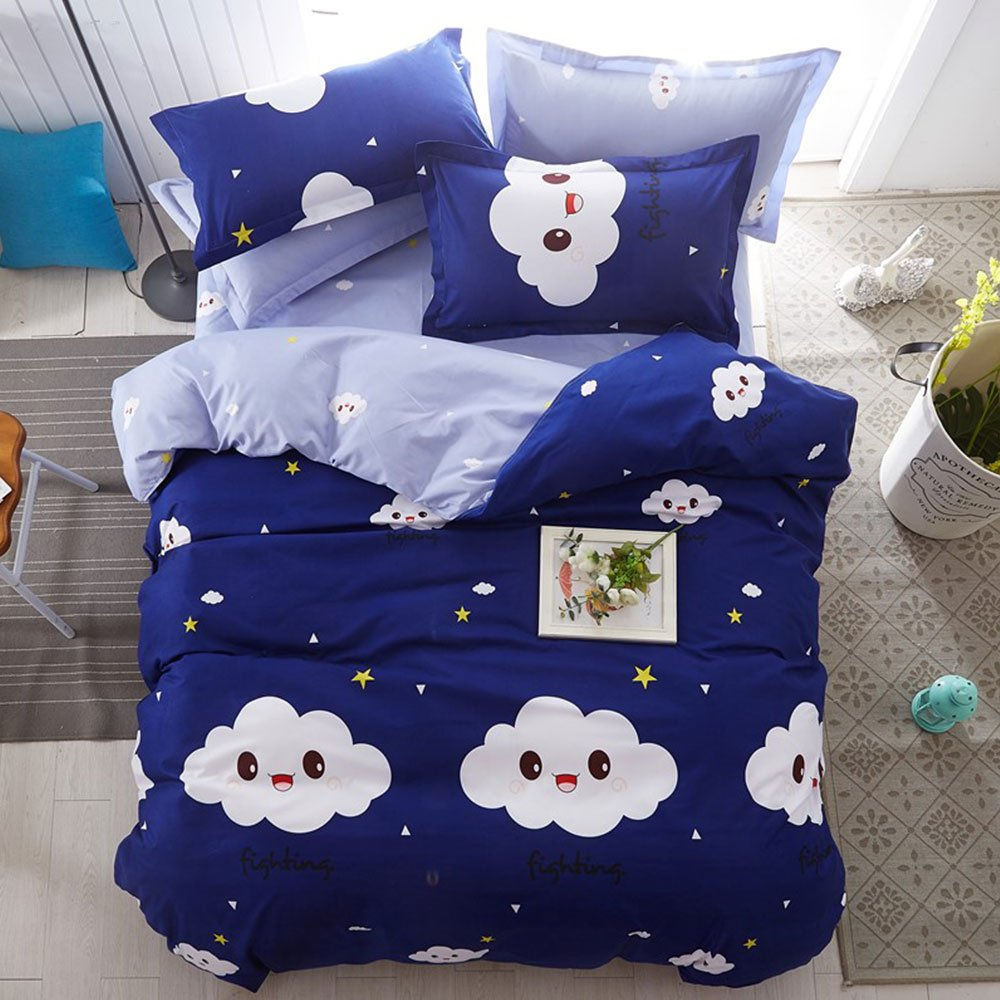 Full Duvet Cover Set with Zipper Closure Luxury Soft Microfiber 4 Piece£¨1 Duvet Cover + 1 Bed Sheets + 2 Pillow Shams) Simple Child Cute Smile Clouds Dark Blue - by Family Decor