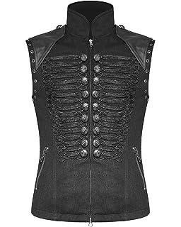 a41ecb90c7ce5 Punk Rave Mens Military Vest Waistcoat Black Gothic Steampunk Dieselpunk  Vintage