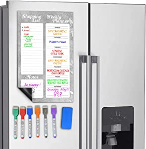 Scribbledo Magnetic Dry Erase Weekly Shopping Planner For Refrigerator 11X17 Inch Whiteboard Includes 6 Fridge Markers and Eraser
