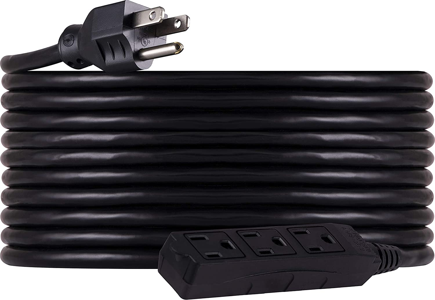 GE 25 Ft Outdoor/Indoor Extension Cord, 3 Prong Grounded Outlet, for Lighting, Power Tools, Holiday Decoration, 3 Wire, 16 Gauge, Double Insulated, One-Piece Molded Plug, Black, 36825