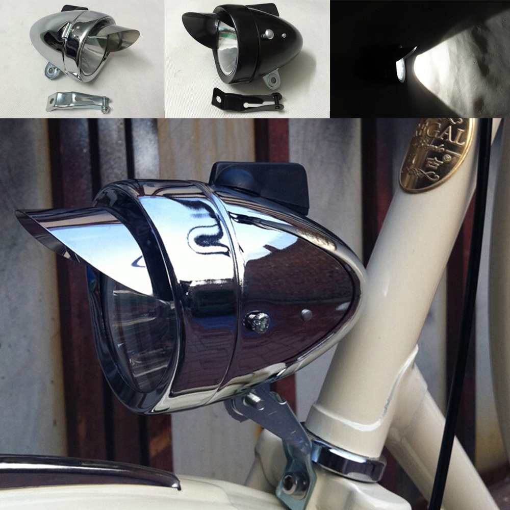 Motor-acc Classical Bright Metal Chrome Silver / Black Vintage Bicycle Bike Headlight Retro LED Light Cycling Fog Front Head Lamp Night Riding Safety With Bracket (Silver)