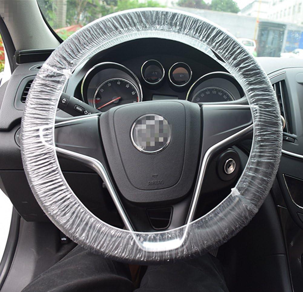 Moyishi 50Pcs Elastic Trim Disposable Truck Car Steering Wheel Covers Films