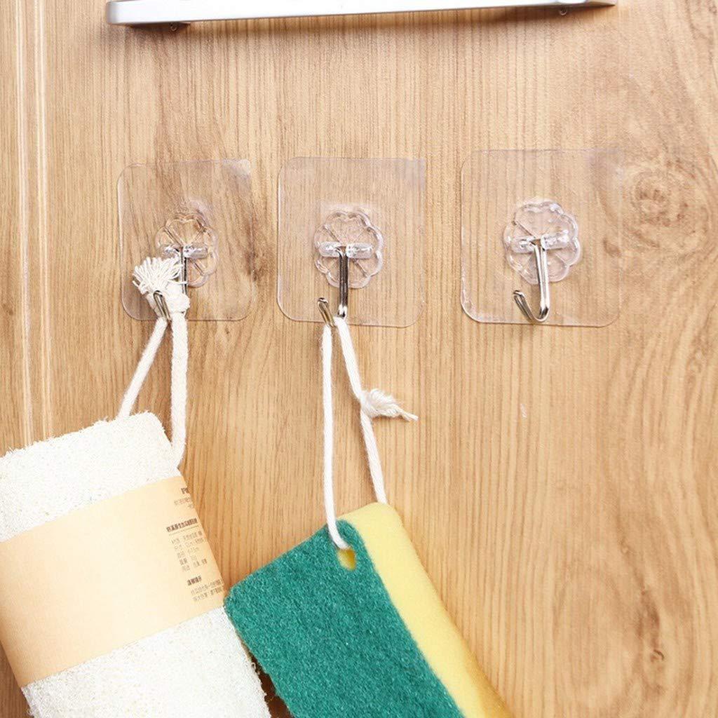 MineMine 40 Crochet adhésif réutilisable Crochets Transparents Auto-adhésifs Charge Portant 6kg Plastique Crochet Collant Fort pour Chambre Salle de Bain Cuisine Porte Murale frigo plafonnier