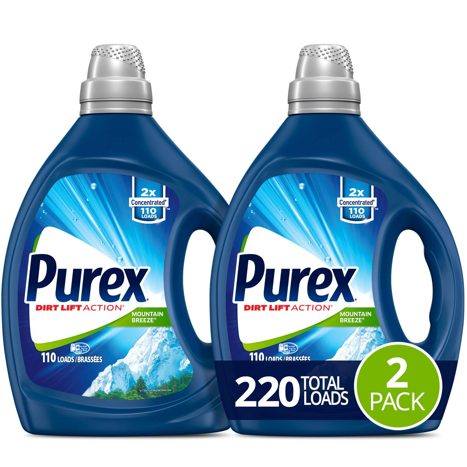 Purex Liquid Laundry Detergent, Mountain Breeze, 2X Concentrated, 2Count, 220 Total Loads by Purex