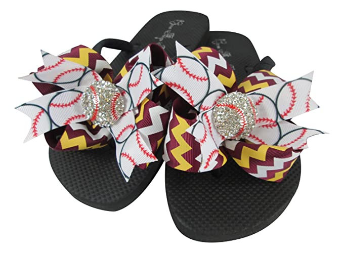 f113d7d5ef06 Amazon.com  Choose your Team Colors Baseball Bling Bow Flip Flops  Handmade
