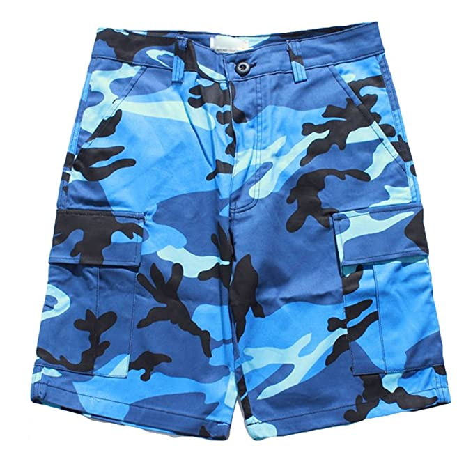Juleya Camo Bolsillos laterales para hombre Casual Camuflaje holgado Hip Hop Streetwear Pantalones cortos ArkS4r