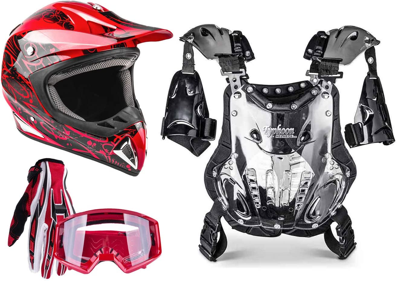 Adult Offroad Helmet Goggles Gloves Combo Max Courier shipping free shipping 54% OFF Chest Gear M Protector