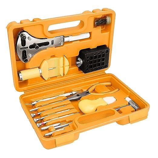 Fypo Profesional Kit de Herramientas de Reparación de Reloj 16 Pcs: Amazon.es: Bricolaje y herramientas