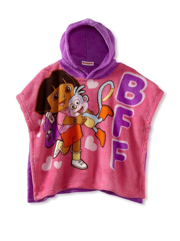 AME 女児用 幼児用 ドーラとブーツ フリースフード付きブランケット ポンチョ B07HDHZBX4