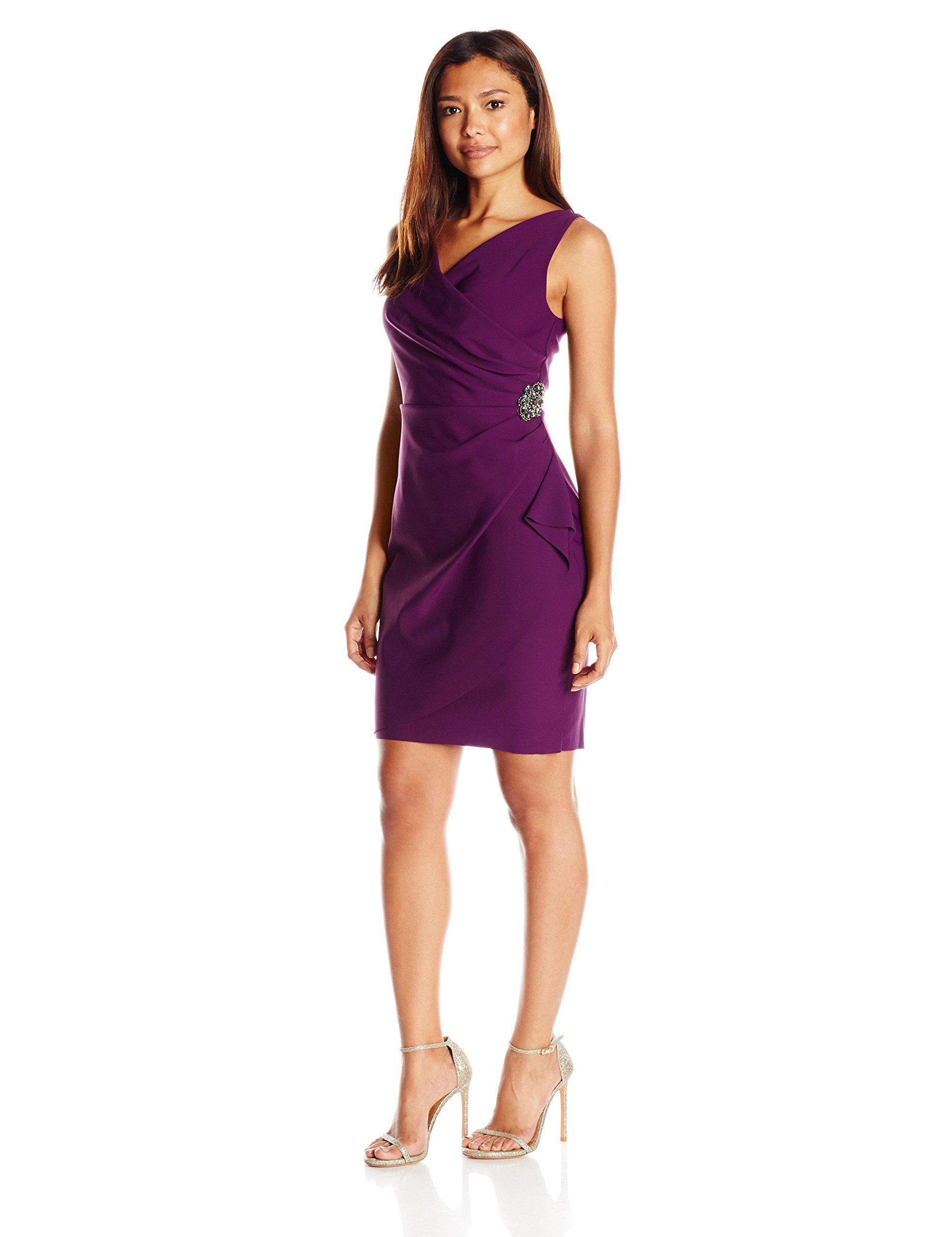 Alex Evenings Women's Petite Sleevless Ruched Dress with Cascade Ruffle Skirt, Summer Plum, 16 Petite