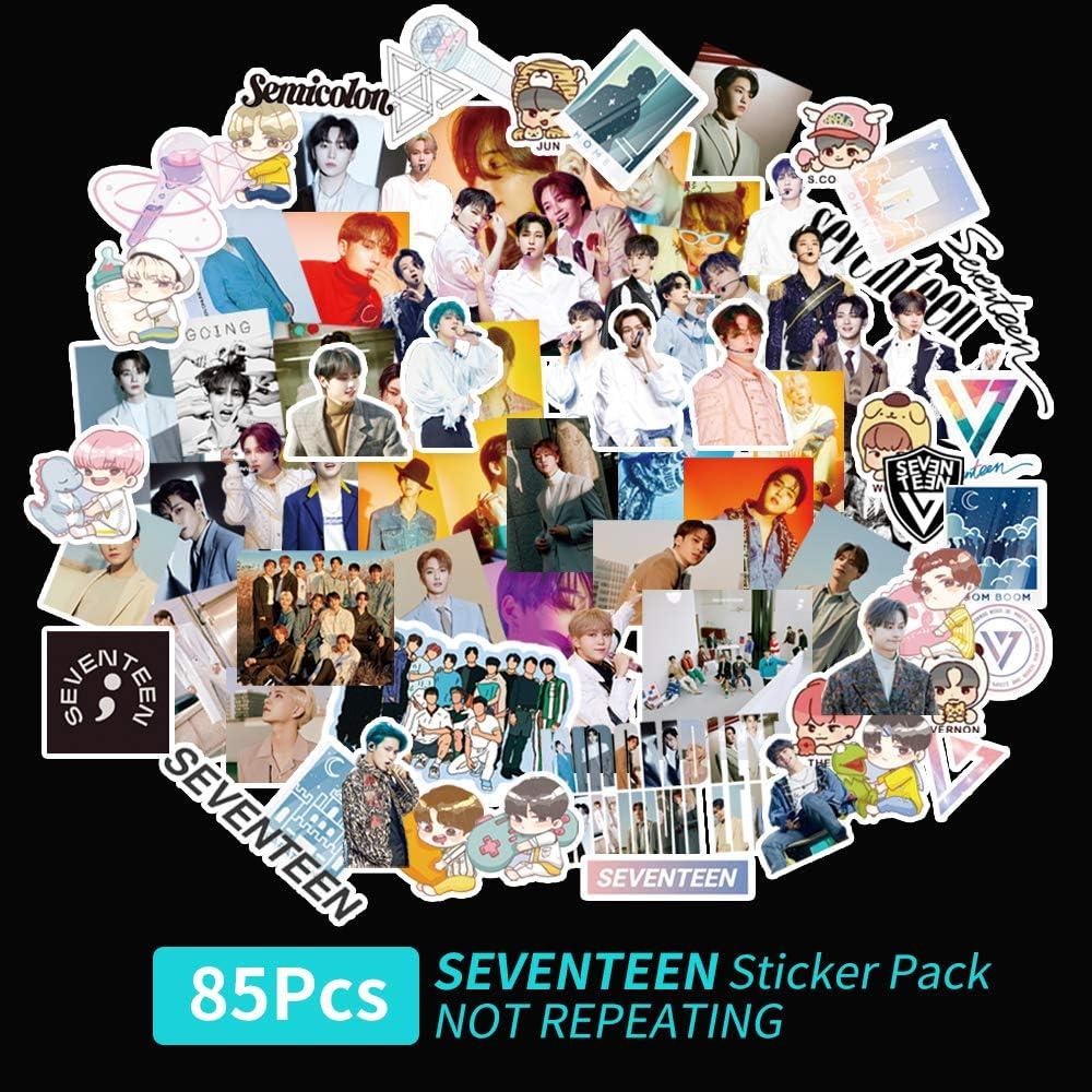 Kpop Seventeen Stickers 85Pcs Seventeen Semicolon New Album Sticker Seventeen Cartoon Sticker Pack Waterproof Vinyl Laptop Sticker Fans Gifts