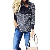 Riojay Women's Stand Collar Oblique Buttons Casual Long Sleeves Splice Fleece Pullover