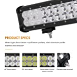 Auxbeam LED Light Bar 12 inch 72W LED Driving Light 7200lm Combo Beams Waterproof for Jeep Off-Road ATV SUV 4x4 Pickup Military Mining Heavy Equipment