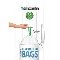 Brabantia Bin Liner Code G (23/30 Litre) 40 Bags Dispenser Pack - White Bin Liner,(23/30 Litre) 40 Bags,White