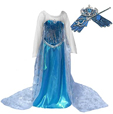Amazon.com: [SALE!] Blue Snow Queen Princess Long Cape Dress ...