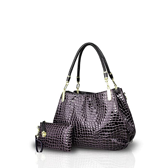 Nicole&Doris New Crocodile Grain PU Leather Women/Ladies Shoulder Bag Handbag Crossbody Totes Large Bag Deep Purple
