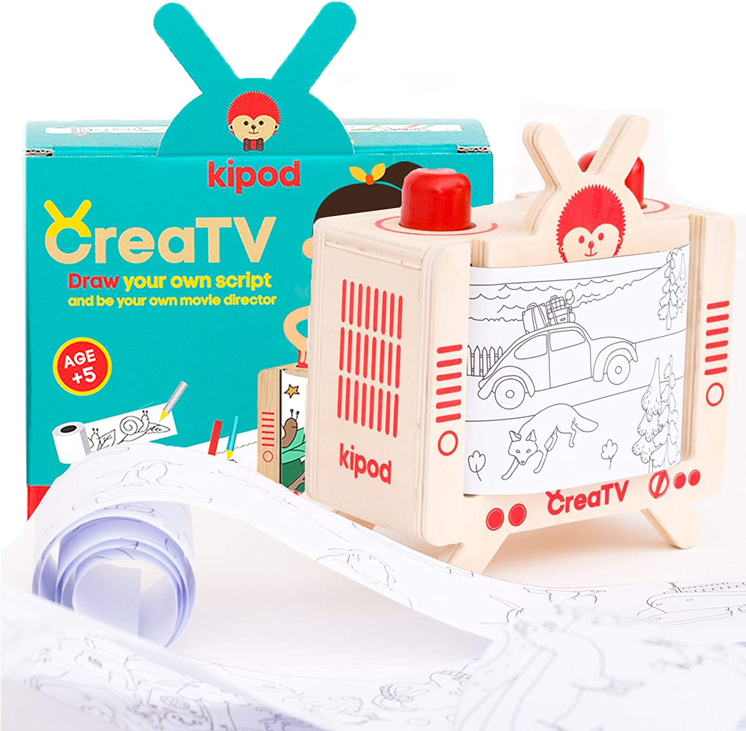 CreaTV – Unique Drawing kit - DIY Story Making Set for Kids to Create Movies & Comics– Unique Kids Arts and Crafts Activity for Boys and Girls Ages 4-12 Years Old – 5 Premade Coloring Story Rolls