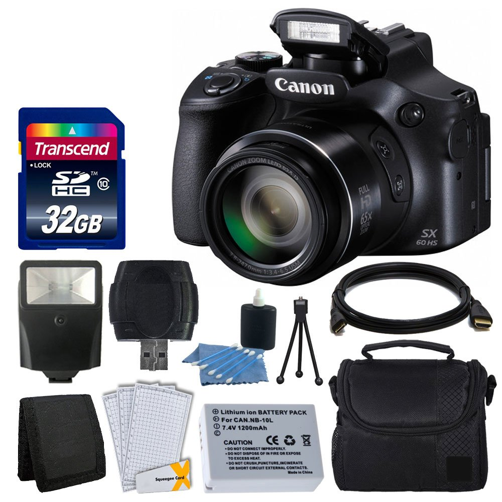 Canon PowerShot SX60 HS Digital Camera + Flash + Extra Battery + HDMI Cable + 32GB Class 10 Card Complete All You Need Deluxe Accessory Bundle And Much More by Canon
