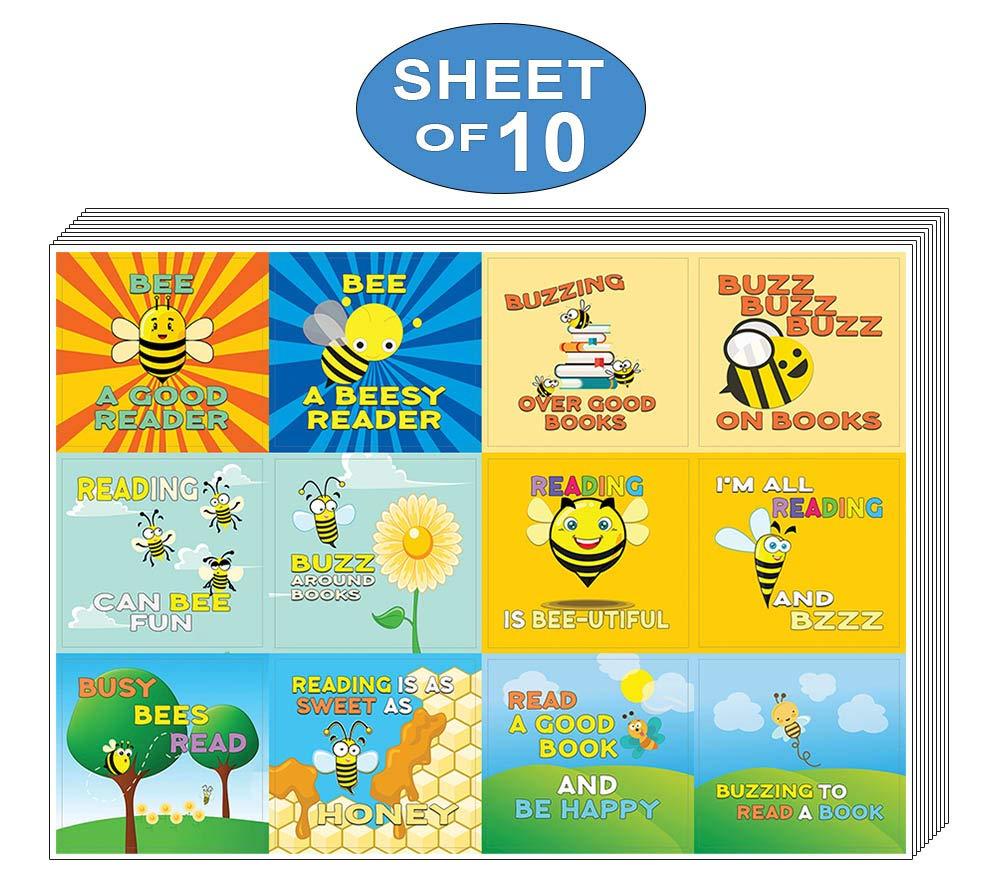 Girls Creanoso Bee Stickers for Kids Inspiring Inspirational Reading Words Wall Stickers Assorted Set 10-Sheet Parent Teachers Incentives Gift Rewards Ideas for Boys