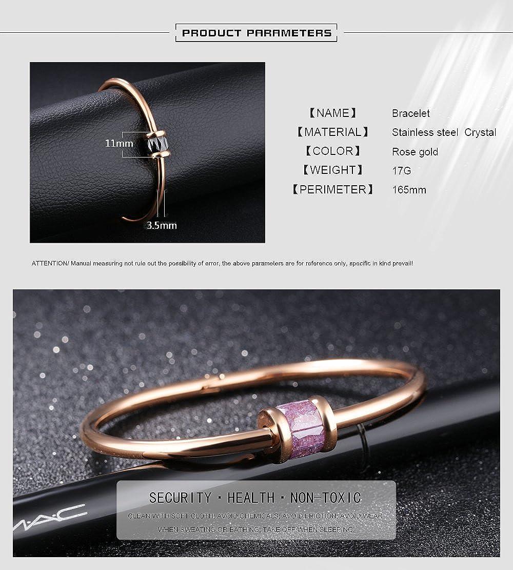 Keybella Bracelet Elegant Woman Girls Stainless Steel Opening Rose Gold Tone Luckey Gift Tassel Tassel Pendant Necklace,Bag Chain