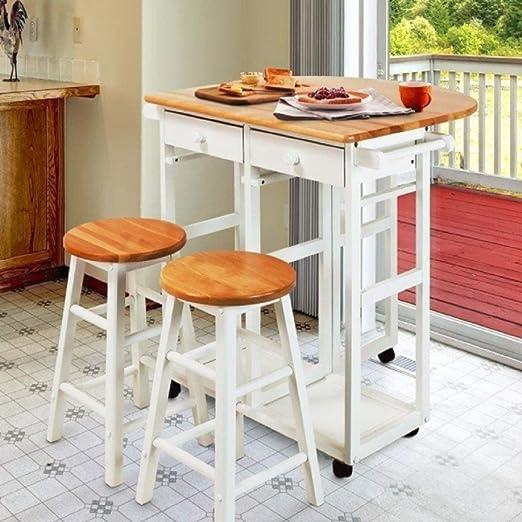 Amazon.com: Juego de mesa de comedor de 3 piezas, 1 mesa y 2 ...