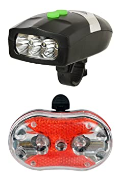 Lista Lista086 Bicycle 3 LED Front Head Light and Horn Lights   Reflectors