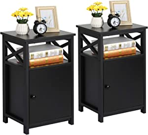 VECELO Modern End Storage Cabinet and Drawer Bedside Sofa Table,Large Capacity Nightstand for Living Room, Bedroom,Office,Easy to Assemble,Set of 2, Black 2set